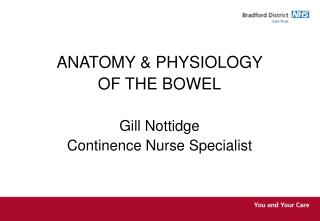 ANATOMY & PHYSIOLOGY  OF THE BOWEL Gill Nottidge  Continence Nurse Specialist