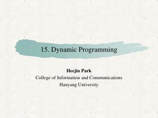 15. Dynamic Programming