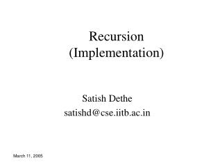 Recursion  (Implementation)
