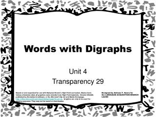 Words with Digraphs