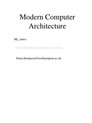 Modern Computer Architecture