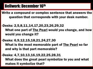Bellwork: December 16 th