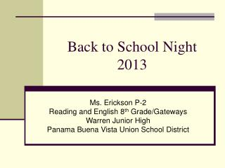 Back to School Night 2013