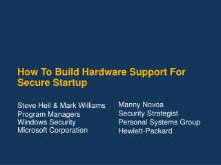 How To Build Hardware Support For Secure Startup