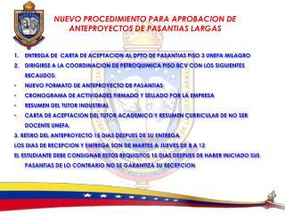 NUEVO PROCEDIMIENTO PARA APROBACION DE ANTEPROYECTOS DE PASANTIAS LARGAS