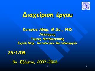Διαχείριση έργου  Κατερίνα Αδάμ, Μ. Sc., PhD Λέκτορας Τομέας Μεταλλευτικής