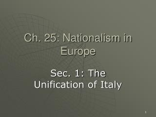 Ch. 25: Nationalism in Europe