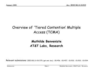 Overview of 'Tiered Contention' Multiple Access (TCMA)