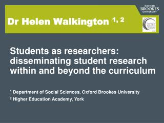 Dr Helen Walkington  1, 2