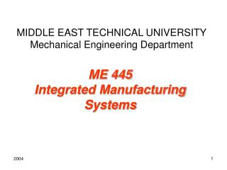 MIDDLE EAST TECHNICAL  UNIVERSITY Mechanical Engineering Department