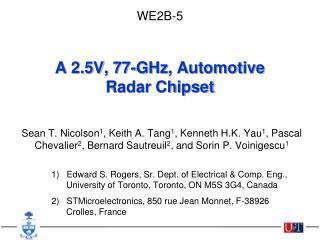 A 2.5V, 77-GHz, Automotive Radar Chipset