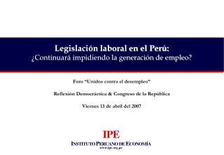 """Foro """"Unidos contra el desempleo"""" Reflexión Democráctica & Congreso de la República"""