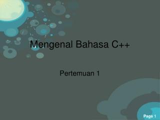 Mengenal Bahasa  C++