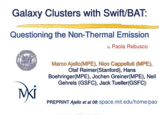 Galaxy Clusters with Swift/BAT : Questioning the Non-Thermal Emission