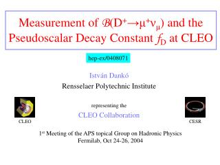 Measurement of  B (D + → μ + ν μ ) and the Pseudoscalar Decay Constant  f D  at CLEO