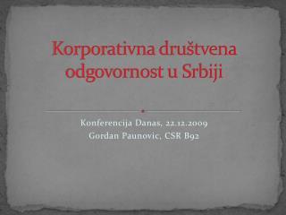 Korporativna dru štvena odgovornost u Srbiji