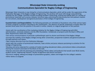Mississippi State University seeking  Communications Specialist for Bagley College of Engineering