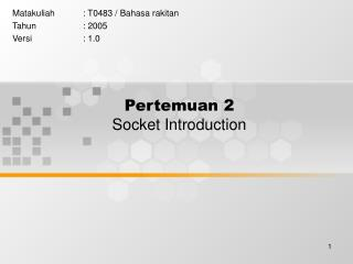 Pertemuan 2 Socket Introduction