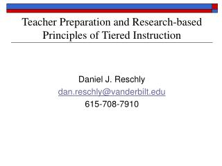 Teacher Preparation and Research-based Principles of Tiered Instruction