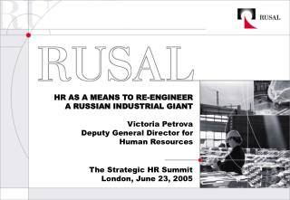 The Strategic HR Summit London, June 23, 2005