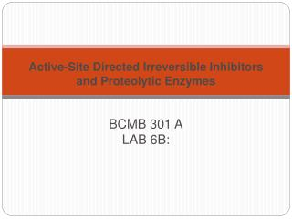Active-Site Directed Irreversible Inhibitors and Proteolytic Enzymes  BCMB 301 A LAB 6B: