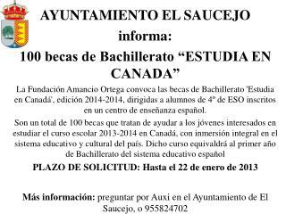 """AYUNTAMIENTO EL SAUCEJO  informa: 100 becas de Bachillerato """"ESTUDIA EN CANADA"""""""