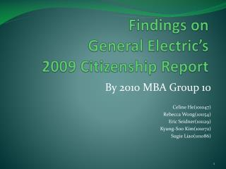Findings on  General Electric's  2009 Citizenship Report