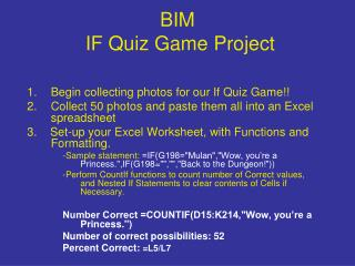 BIM  IF Quiz Game Project