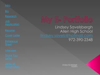Lindsey Savelsbergh Allen High School lindsey.savels@hotmail 972-390-2348