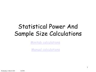 Statistical Power And Sample Size Calculations