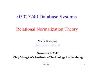 05027240 Database Systems   Relational Normalization Theory