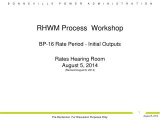 RHWM Process Workshop Agenda