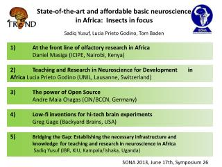 State-of-the-art and affordable basic neuroscience in Africa:  Insects in focus