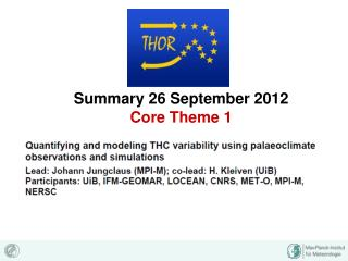 Summary 26 September 2012 Core Theme 1