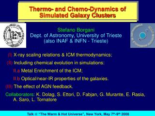 Thermo- and Chemo-Dynamics of Simulated Galaxy Clusters