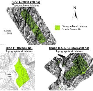 Bloc F (102.662 ha) Topographie  et  falaises
