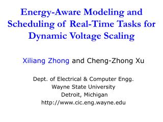 Energy-Aware Modeling and Scheduling of Real-Time Tasks for Dynamic Voltage Scaling