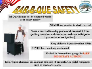 BBQ grills may not be operated within 15 ft of any facility