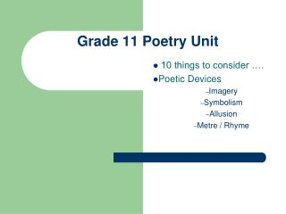 Grade 11 Poetry Unit