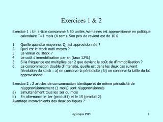 Exercices 1 & 2