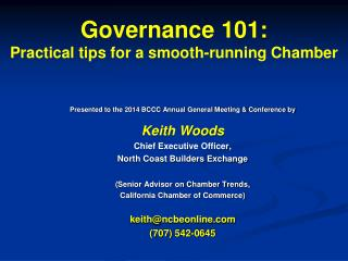 Governance 101 : Practical tips for a smooth-running Chamber
