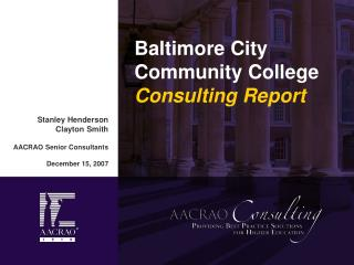 Baltimore City Community College  Consulting Report