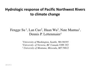 Hydrologic response of Pacific Northwest Rivers to climate change