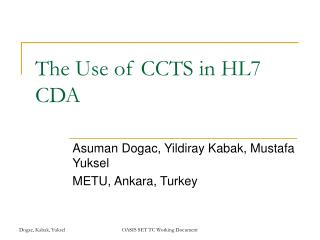 The Use of CCTS in HL7 CDA