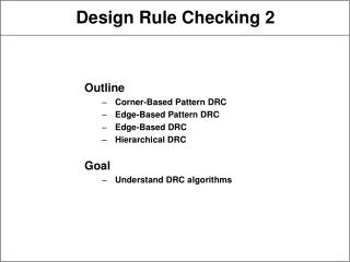 Design Rule Checking 2