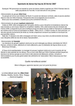 Spectacle de danse hip hop du 02 février 2007