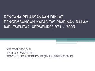 RENCANA PELAKSANAAN DIKLAT PENGEMBANGAN KAPASITAS PIMPINAN DALAM IMPLEMENTASI KEPMENKES 971 / 2009