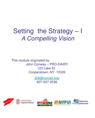 Setting  the Strategy   I A Compelling Vision