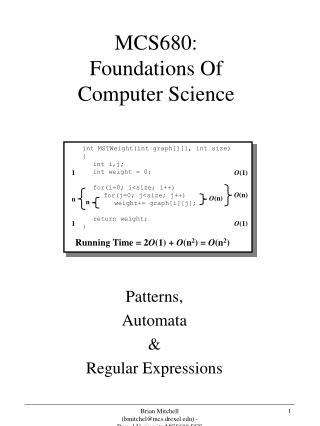 MCS680: Foundations Of  Computer Science