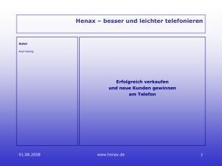 Henax   besser und leichter telefonieren